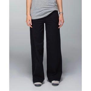 Lululemon Still Pant Black Tonal Stripe Wide Leg  Tall